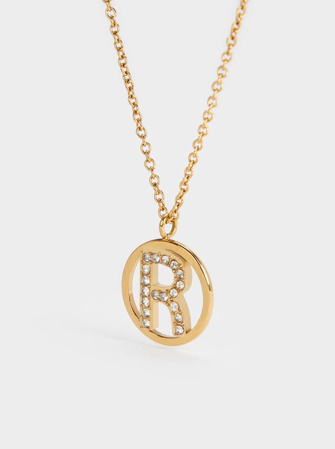 Short Steel Necklace With Letter R, Golden, hi-res