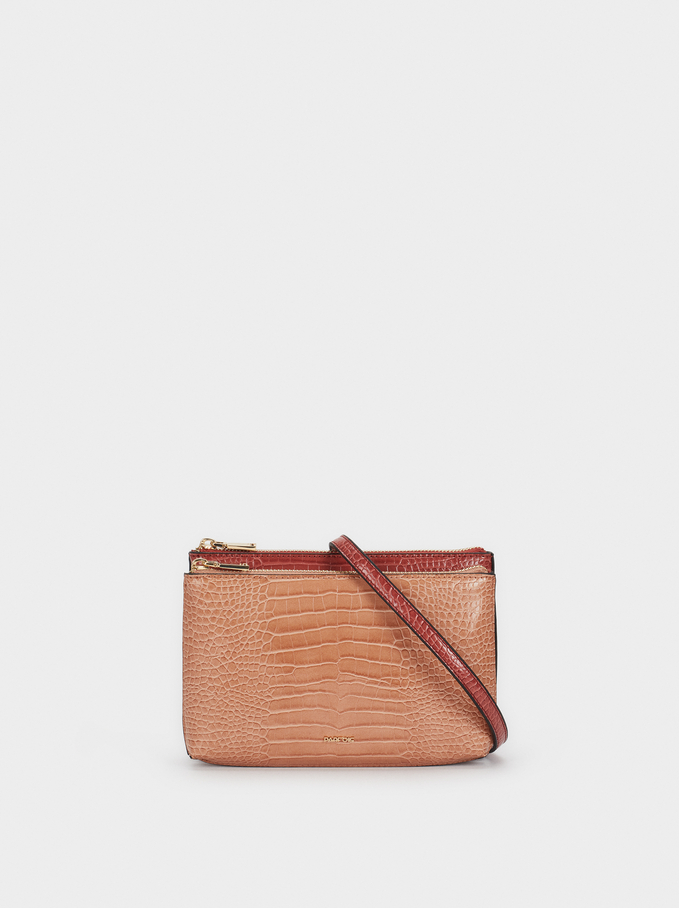 Animal Embossed Shoulder Bag, Pink, hi-res