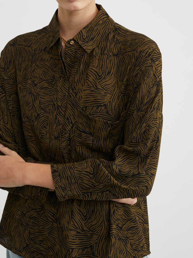 Printed Loose-Fitting Shirt, Khaki, hi-res