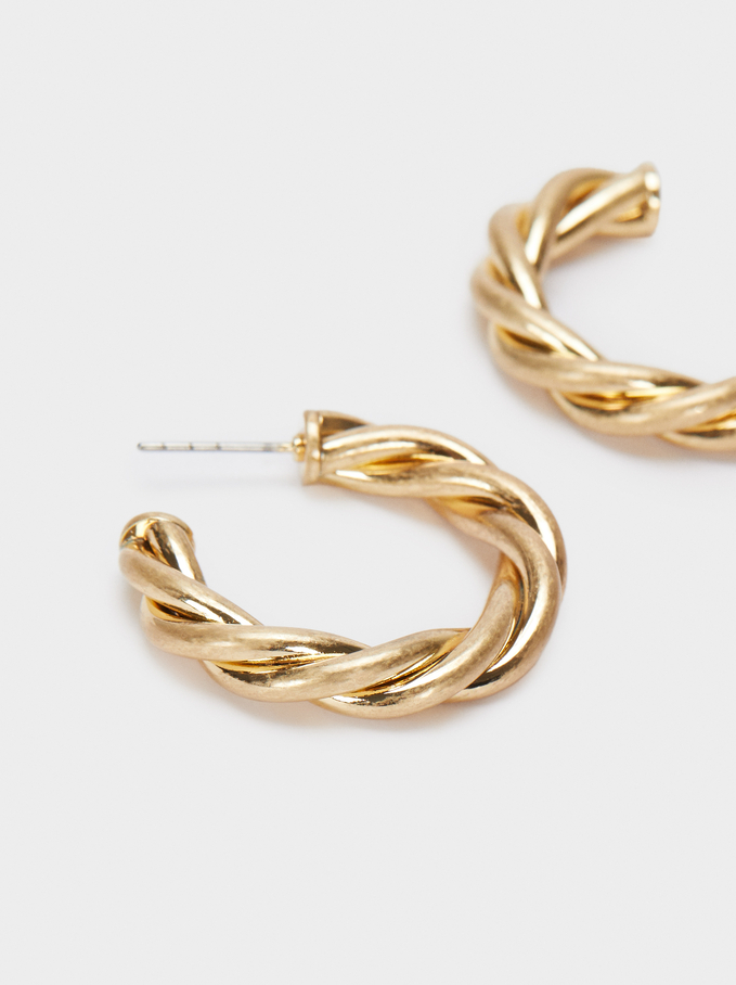 Small Woven Detail Hoop Earrings, Golden, hi-res