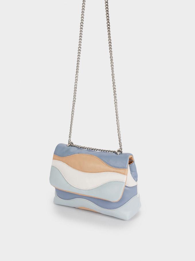 Quilted Shoulder Bag With Contrast Strap, Blue, hi-res