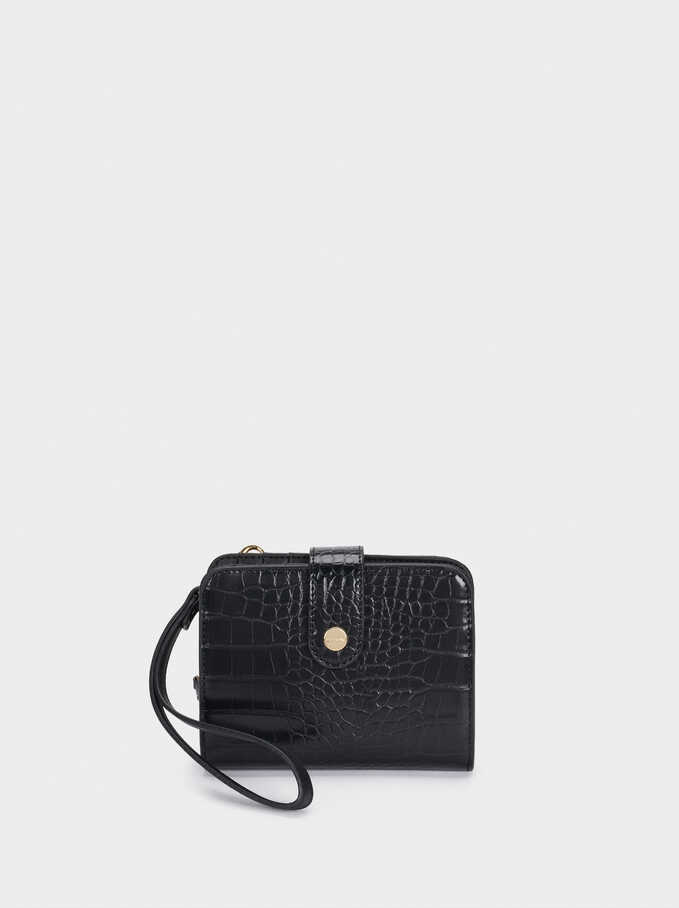 Cartera Compacta Grabado Animal, Negro, hi-res