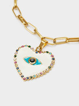 Gold Stainless Steel Heart Bracelet, Multicolor, hi-res