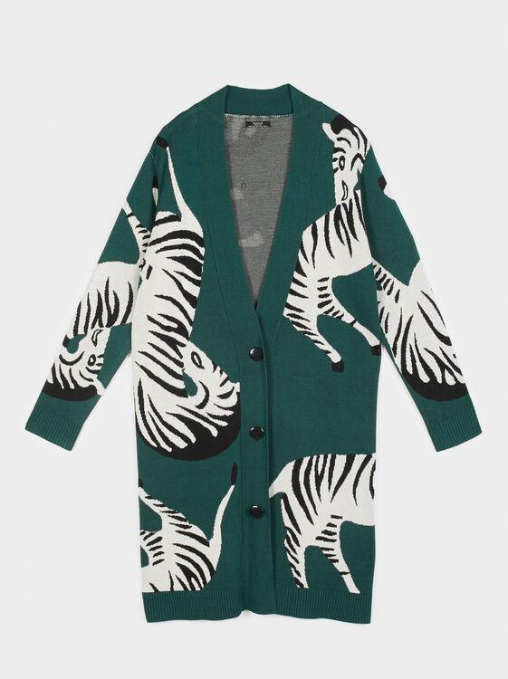 Zebra Print Knit Cardigan, Green, hi-res