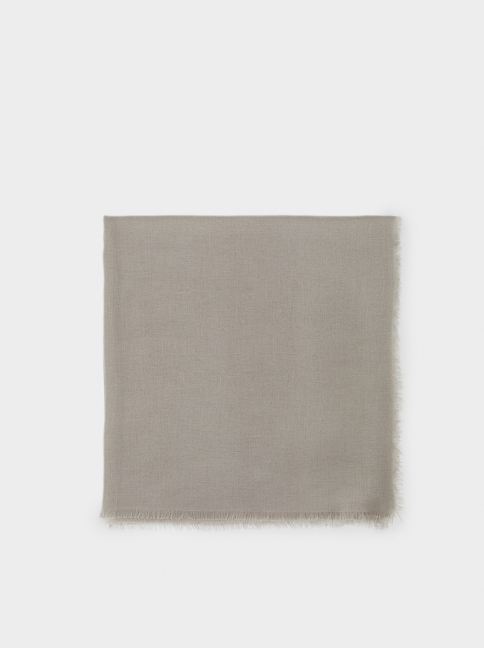 Plain Pashmina, Grey, hi-res