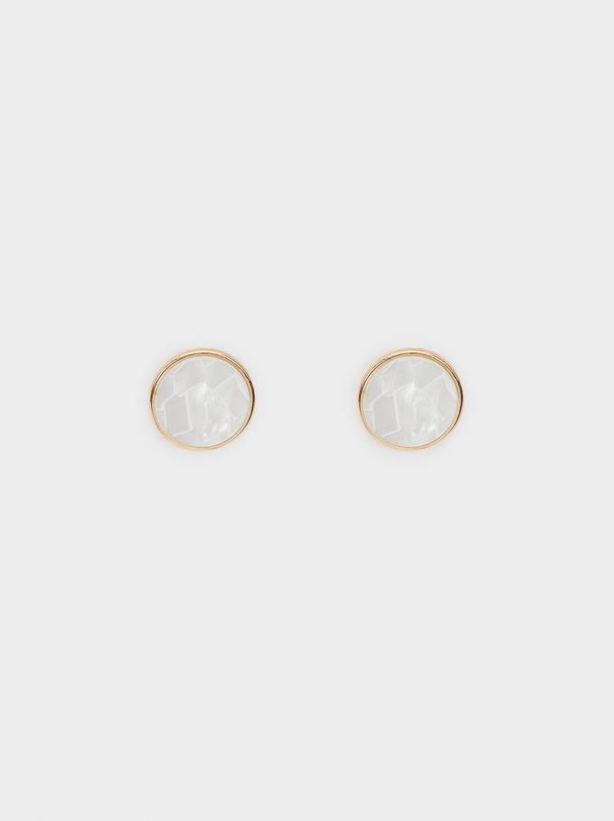 Creme Short Earrings, White, hi-res