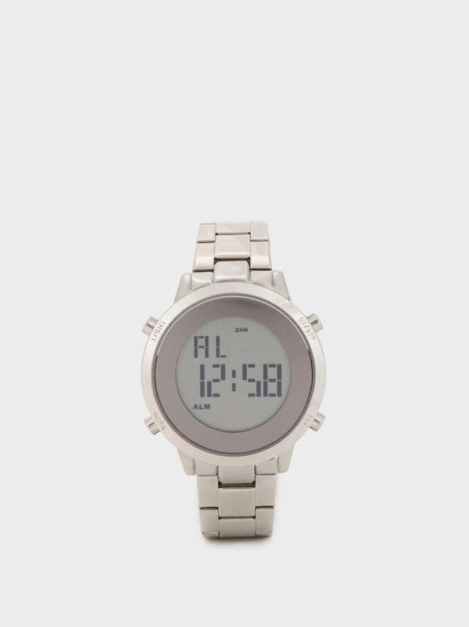 Reloj Digital Correa De Acero, Plateado, hi-res