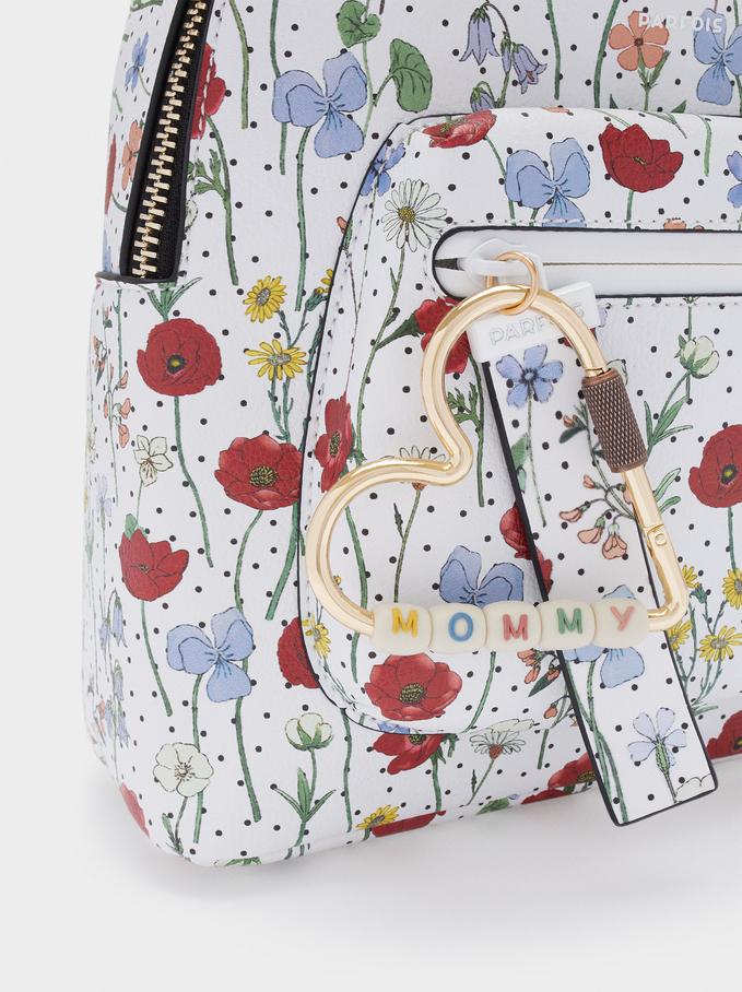 Floral Print Backpack, Red, hi-res