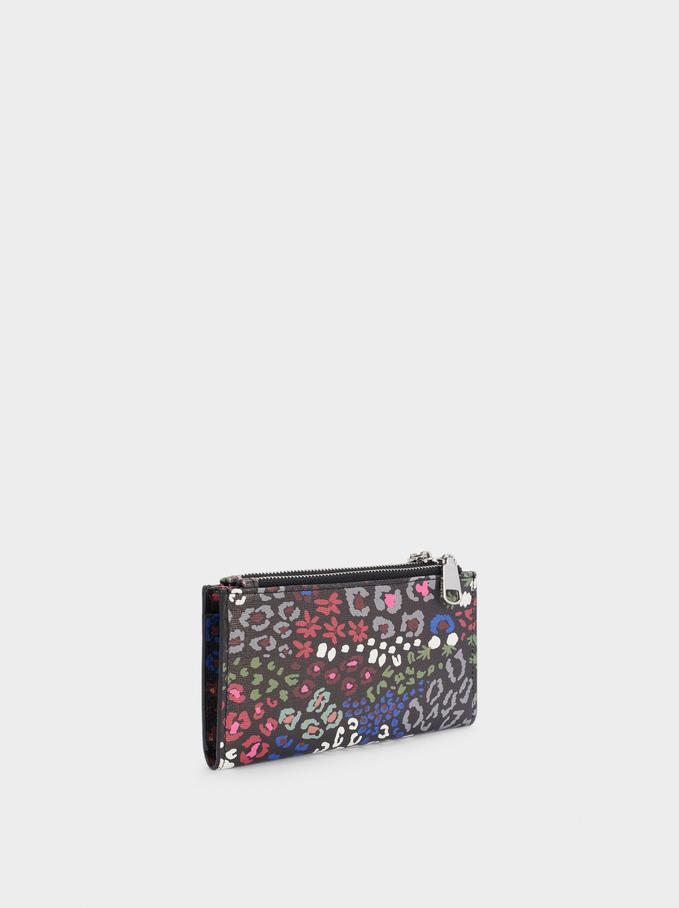 Cartera Con Estampado Floral, Negro, hi-res