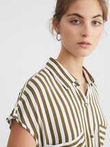Striped Shirt Dress, Khaki, hi-res