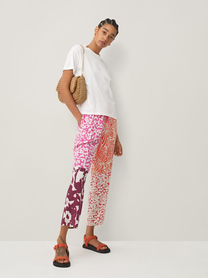 Pantalon Fluide Imprimé, Rose, hi-res