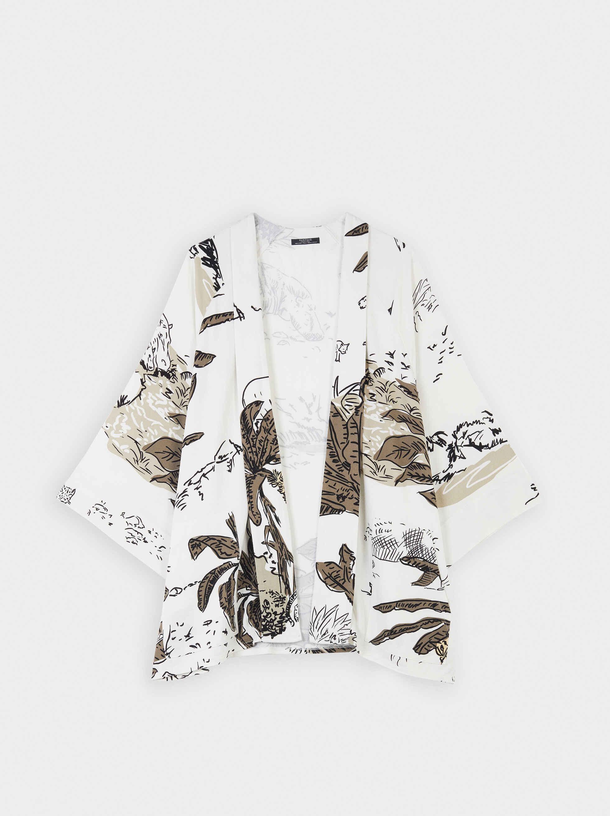 Animal Print Open Kimono, White, hi-res