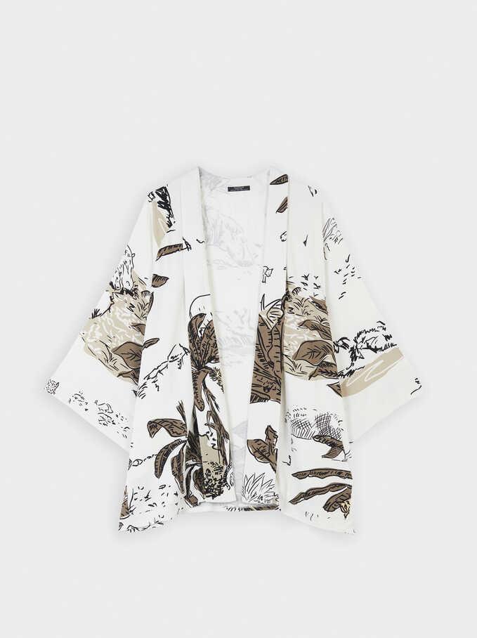 Kimono Abierto Estampado Animal, Blanco, hi-res