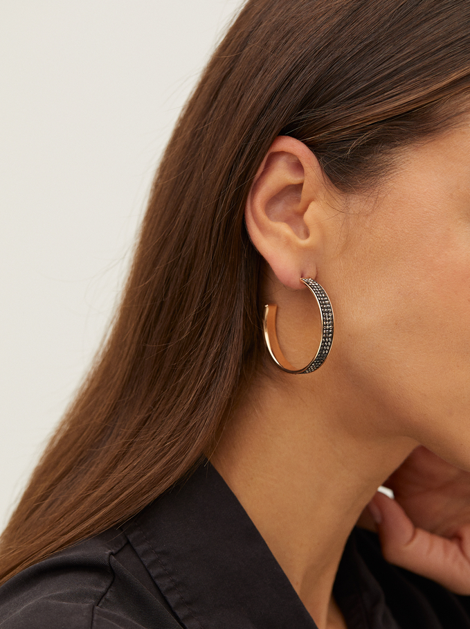 Hoop Earrings With Rhinestones, Multicolor, hi-res