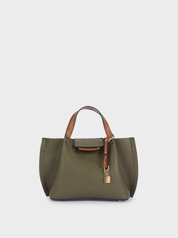 Tote Bag With Detachable Shoulder Strap And Lining, Khaki, hi-res