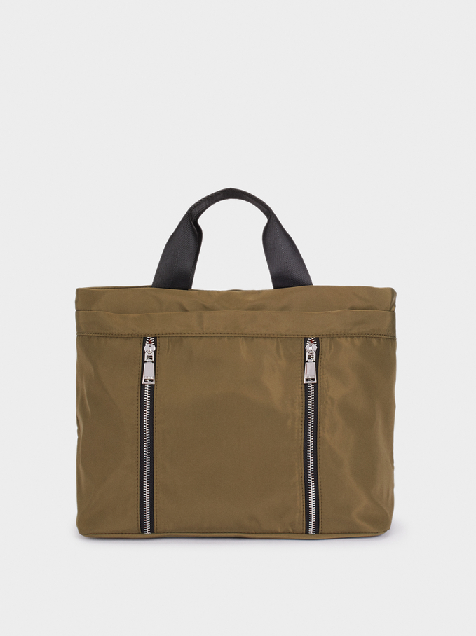 Nylon Tote Bag With Zip Detail, Khaki, hi-res