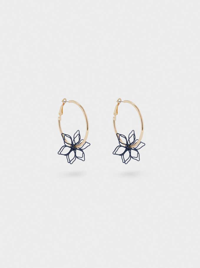 Small Flower Hoop Earrings, Green, hi-res
