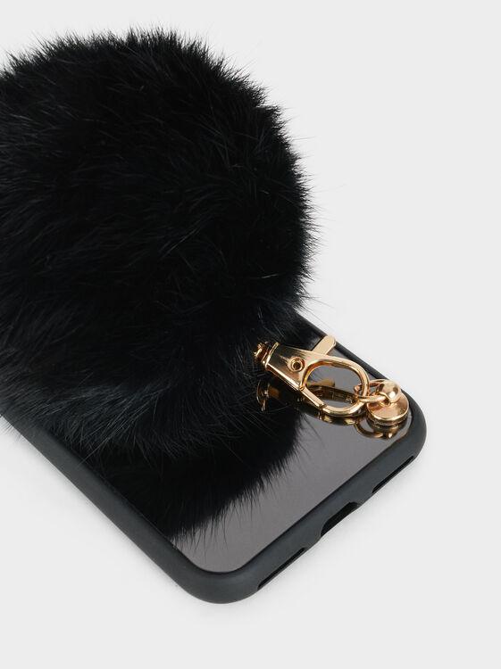 Iphone 6/7/8 Case With Pompom, Black, hi-res
