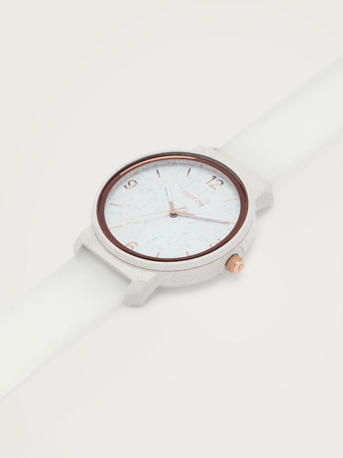 Reloj Con Correa De Silicona, Blanco, hi-res