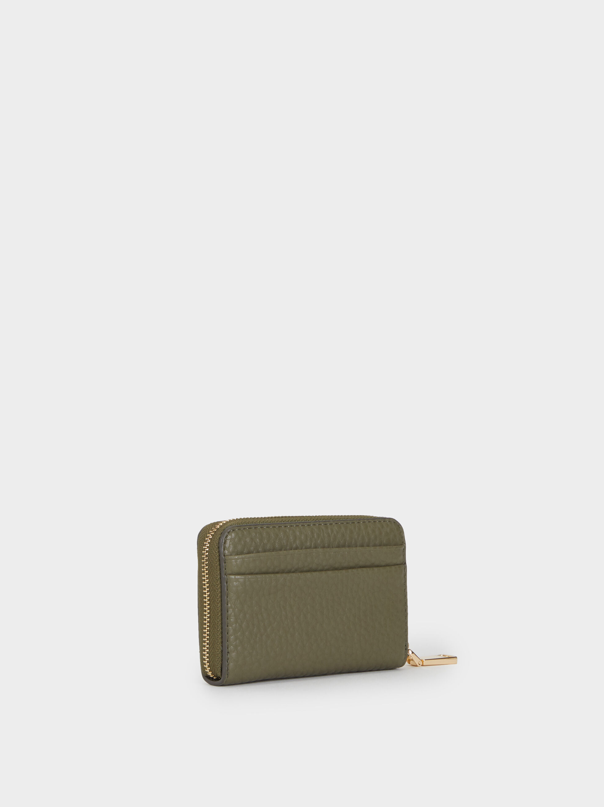 Small Faux Leather Purse, Khaki, hi-res