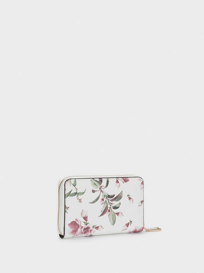 Compact Floral Print Wallet, Ecru, hi-res