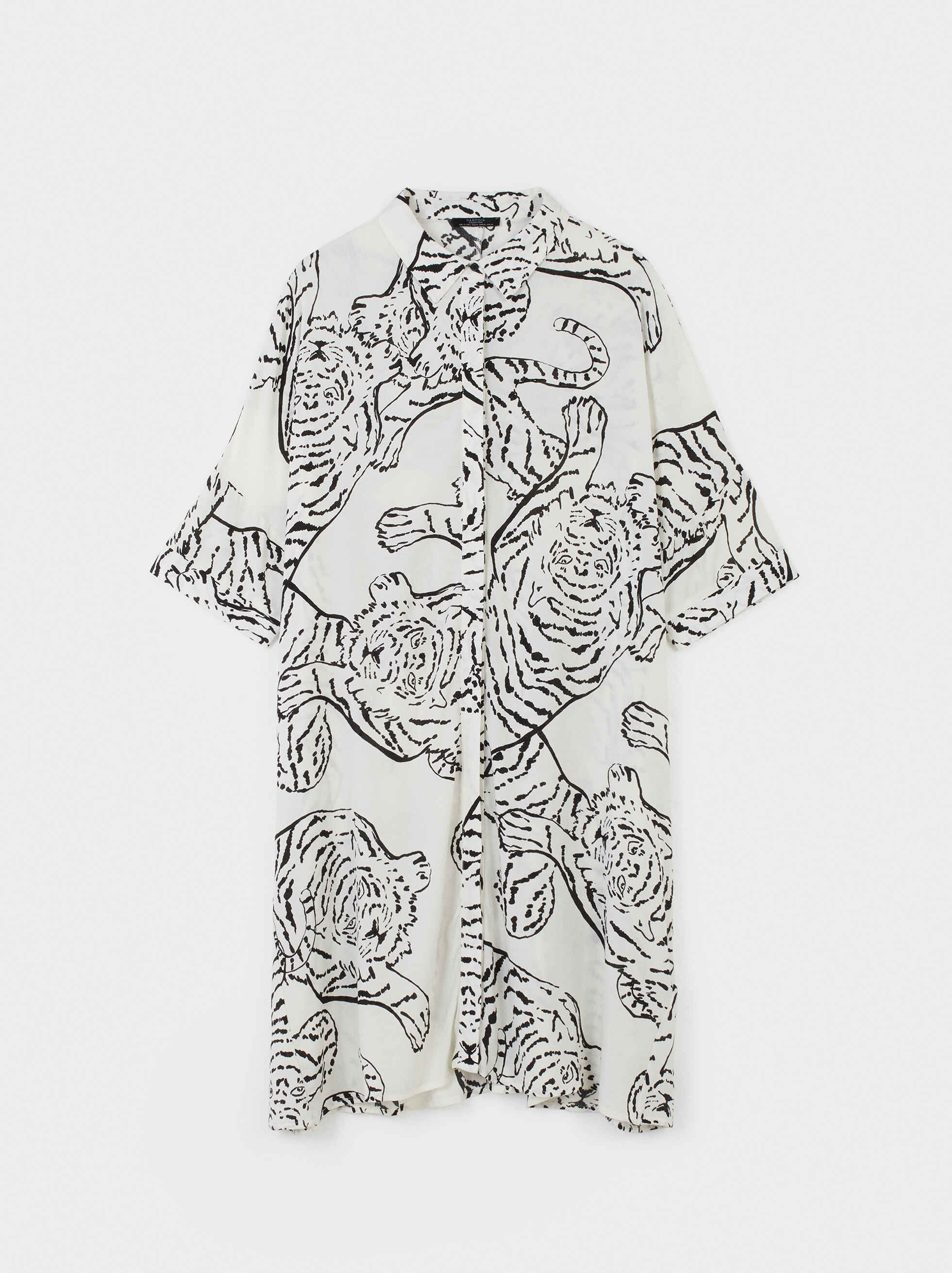 Animal Print Shirt Dress, White, hi-res