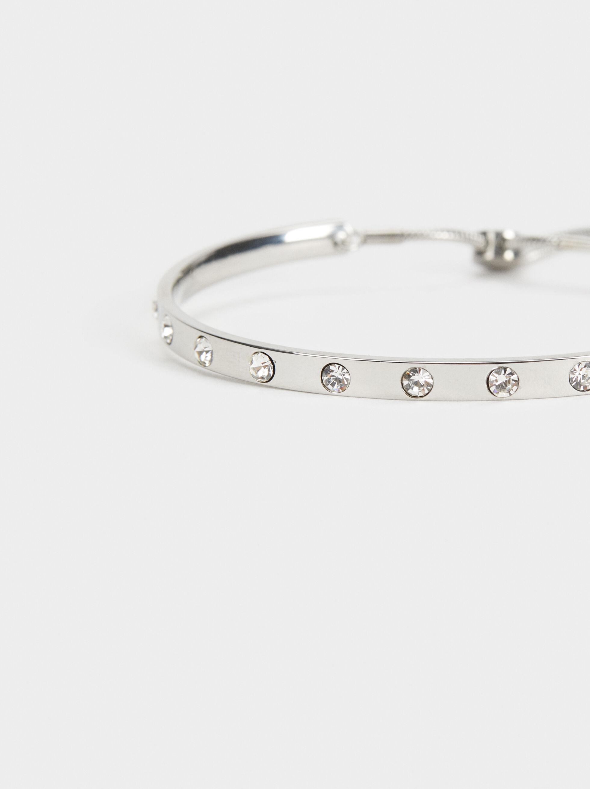 Steel Adjustable Bracelet With Rhinestones, Silver, hi-res