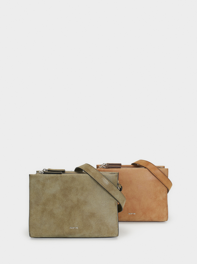 Textured Shoulder Bag, Camel, hi-res