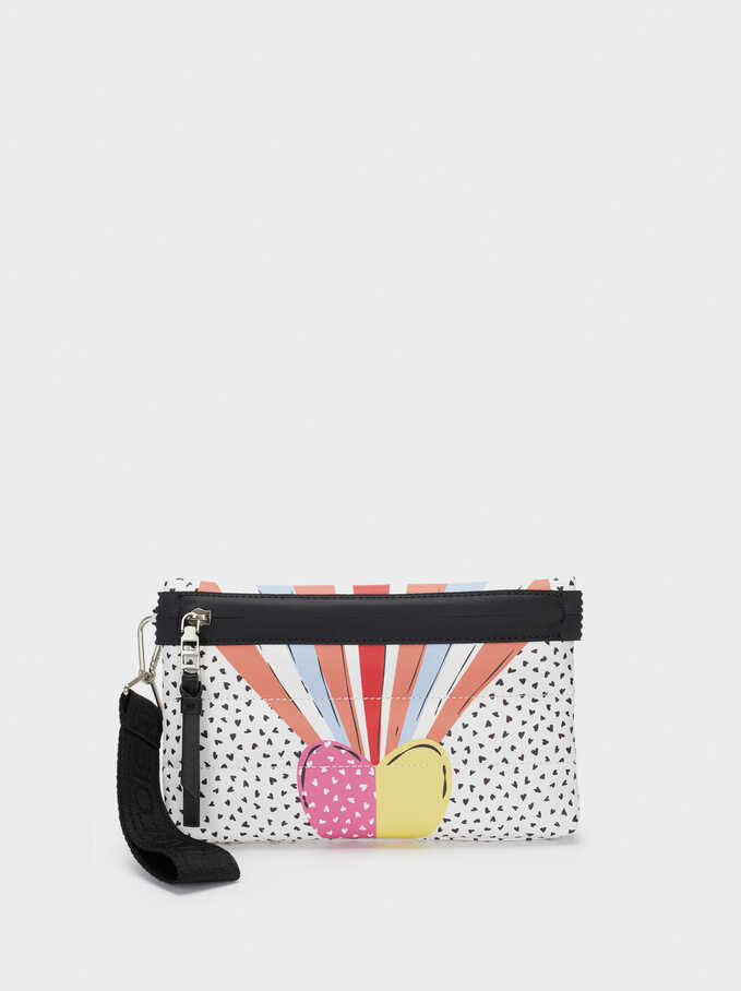 Heart Print Multi-Purpose Bag, White, hi-res