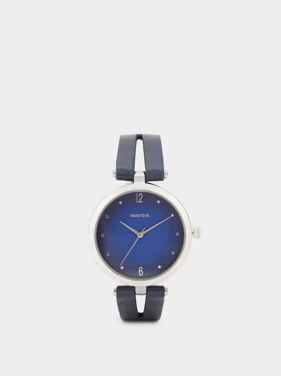 Fur Bracelet Textured Clock, Navy, hi-res