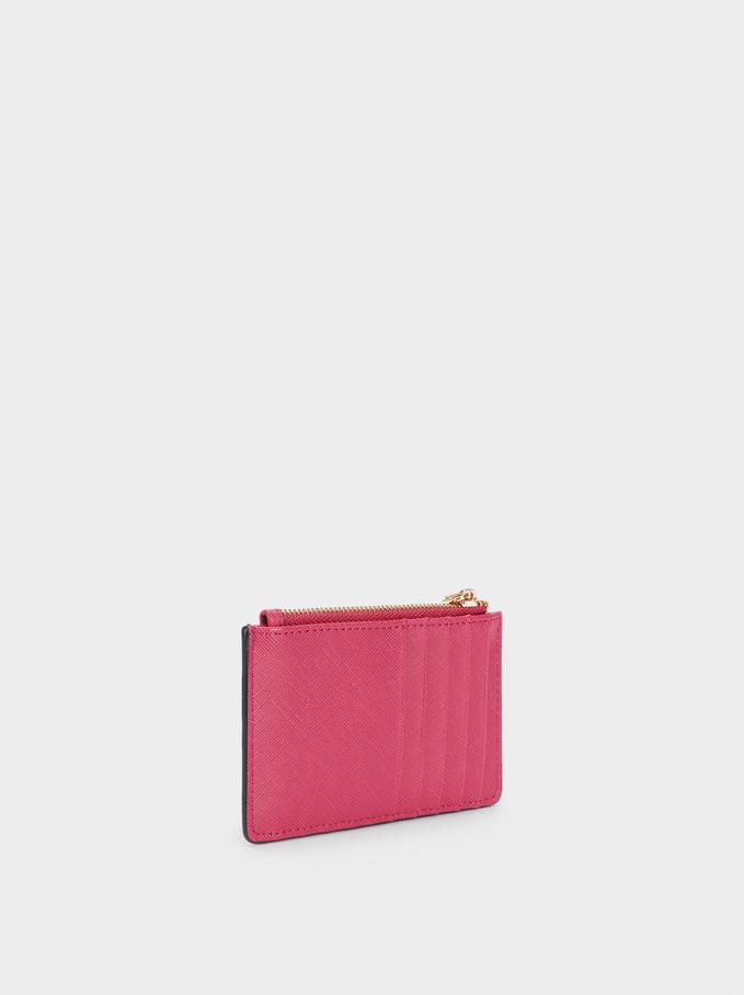 Plain Card Holder Purse, Pink, hi-res