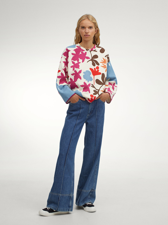 Cotton Sweater With Floral Print, Ecru, hi-res