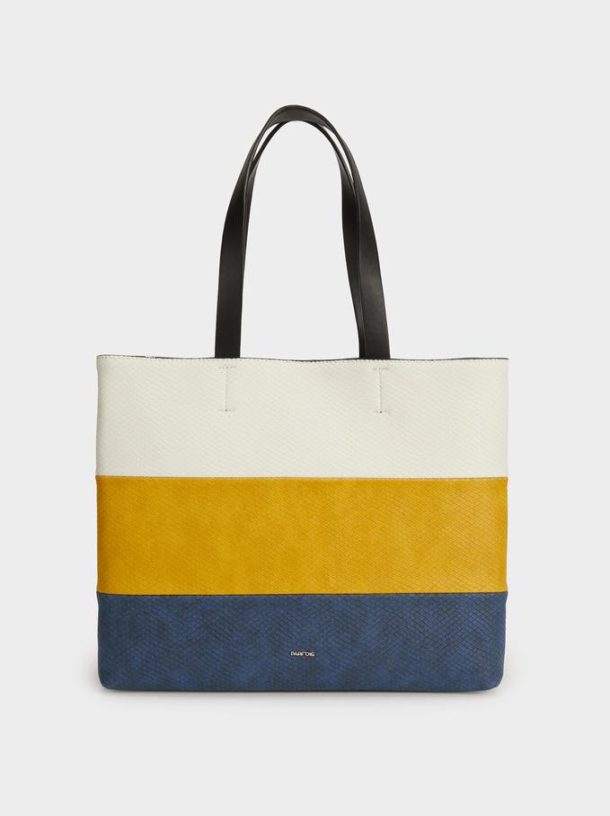 Colour Block Tote Bag, Yellow, hi-res