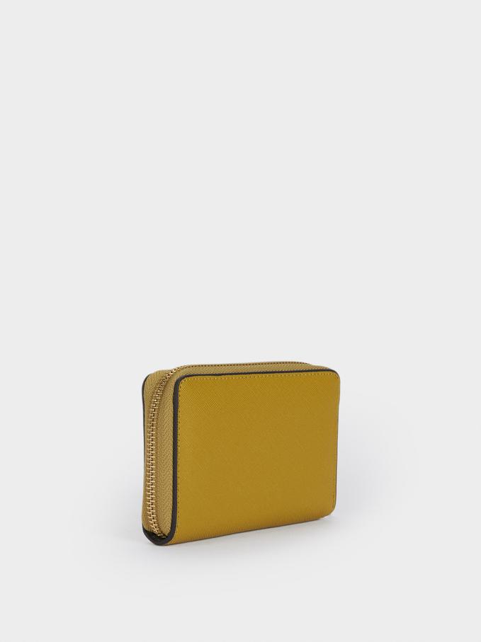 Plain Zipped Purse, Yellow, hi-res