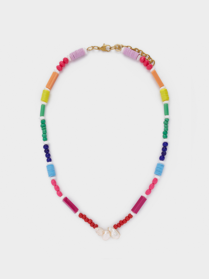 Short Necklace With Shell, Multicolor, hi-res