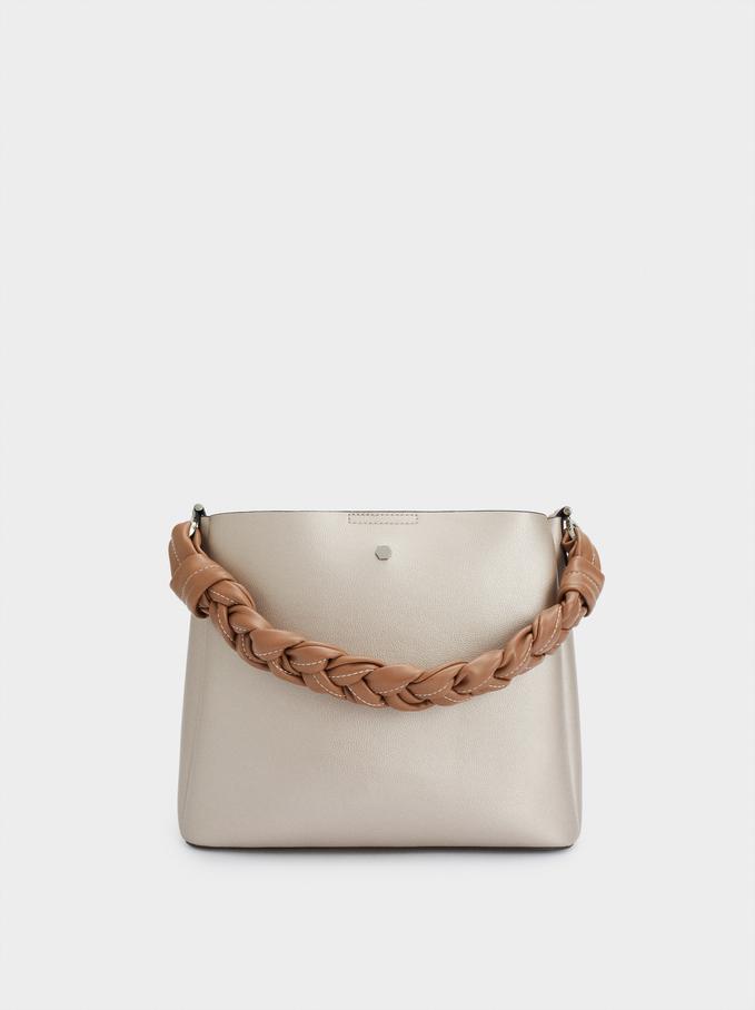 Handbag With Braided Handle, Silver, hi-res