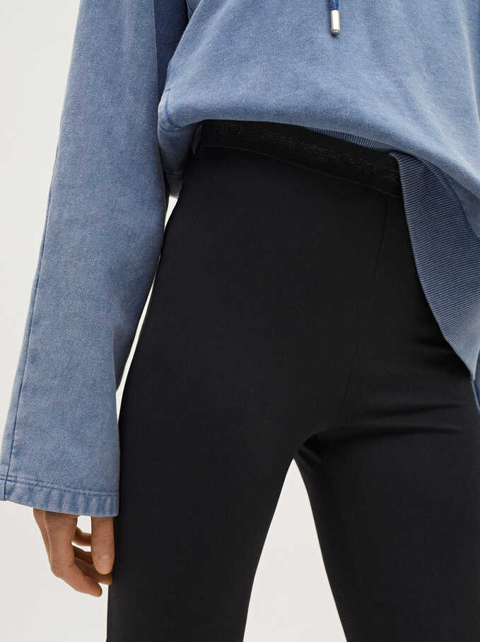 Pantalones Cortos Detalle Brillantes, Negro, hi-res