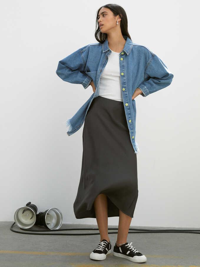 Limited Edition Long Skirt, Grey, hi-res