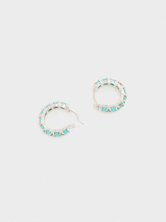 Small 925 Sterling Silver Hoops With Stones, Multicolor, hi-res
