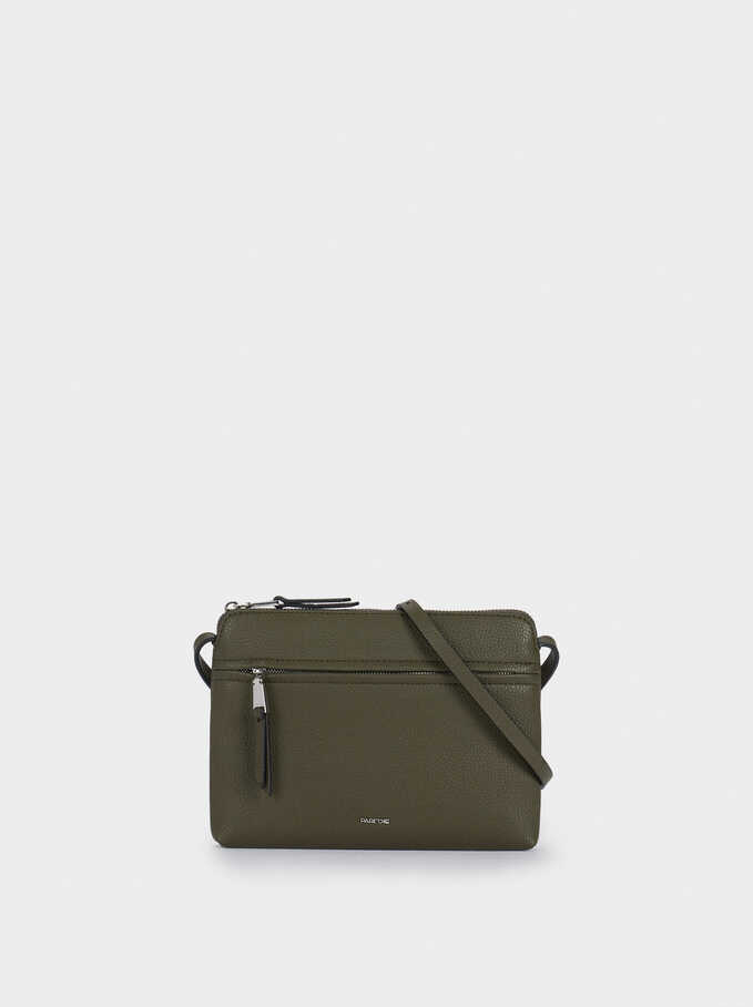 Crossbody Bag With Outer Pocket, Khaki, hi-res