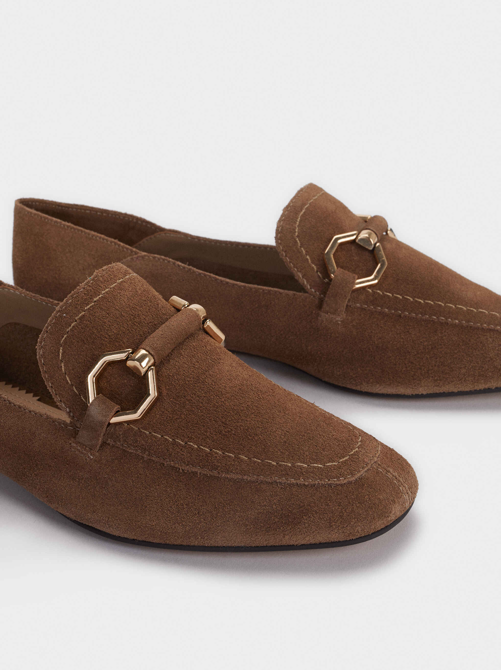 Suede Moccasins With Metallic Detail, , hi-res