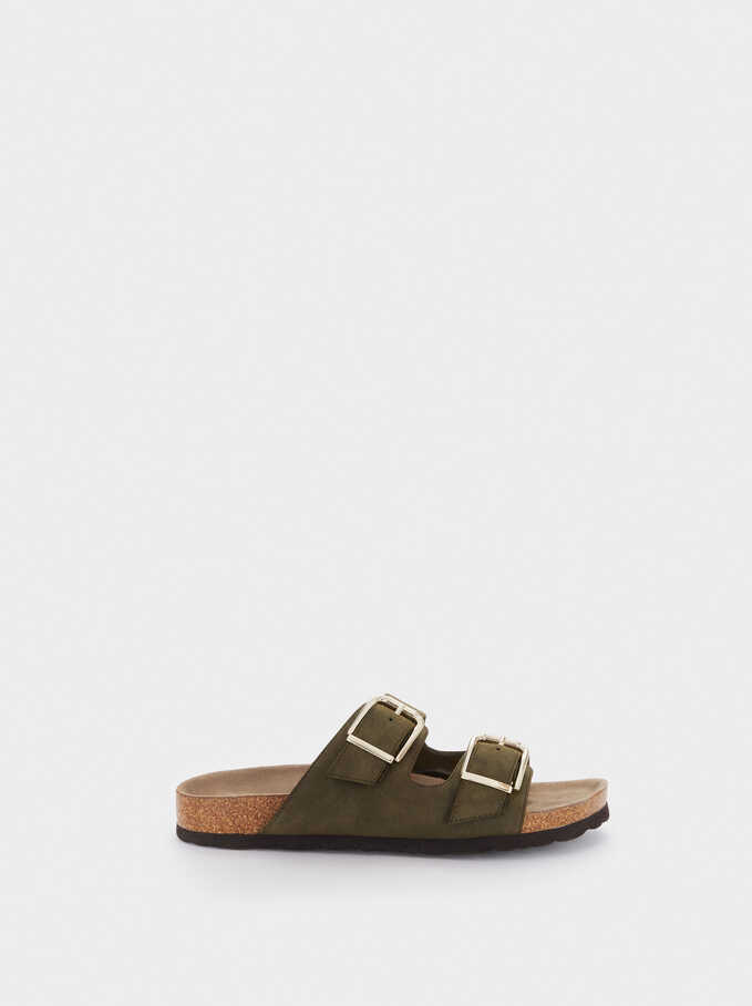 Flat Buckled Sandals, Khaki, hi-res