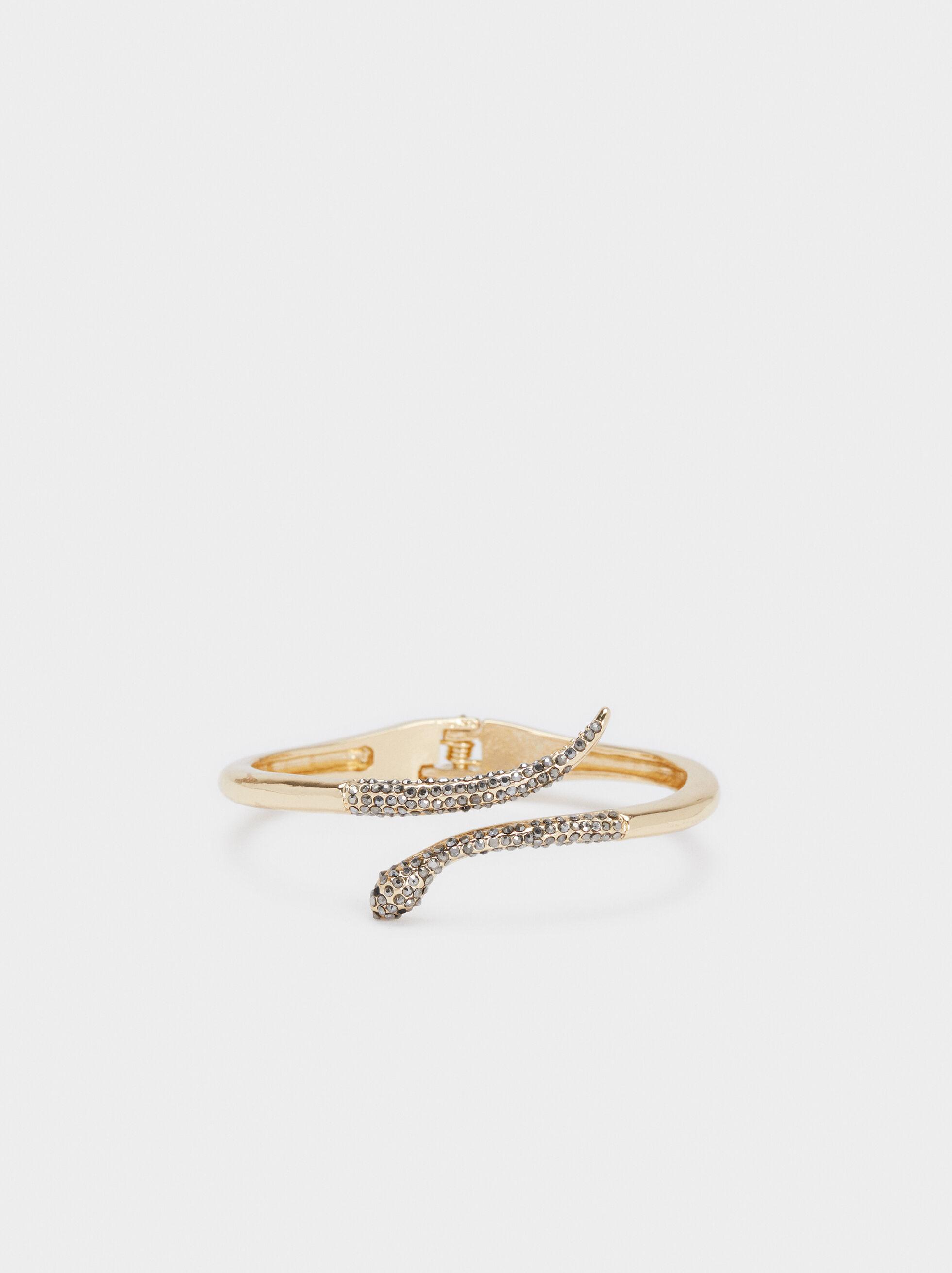 Bracelet En Métal Doré Rigide, Doré, hi-res