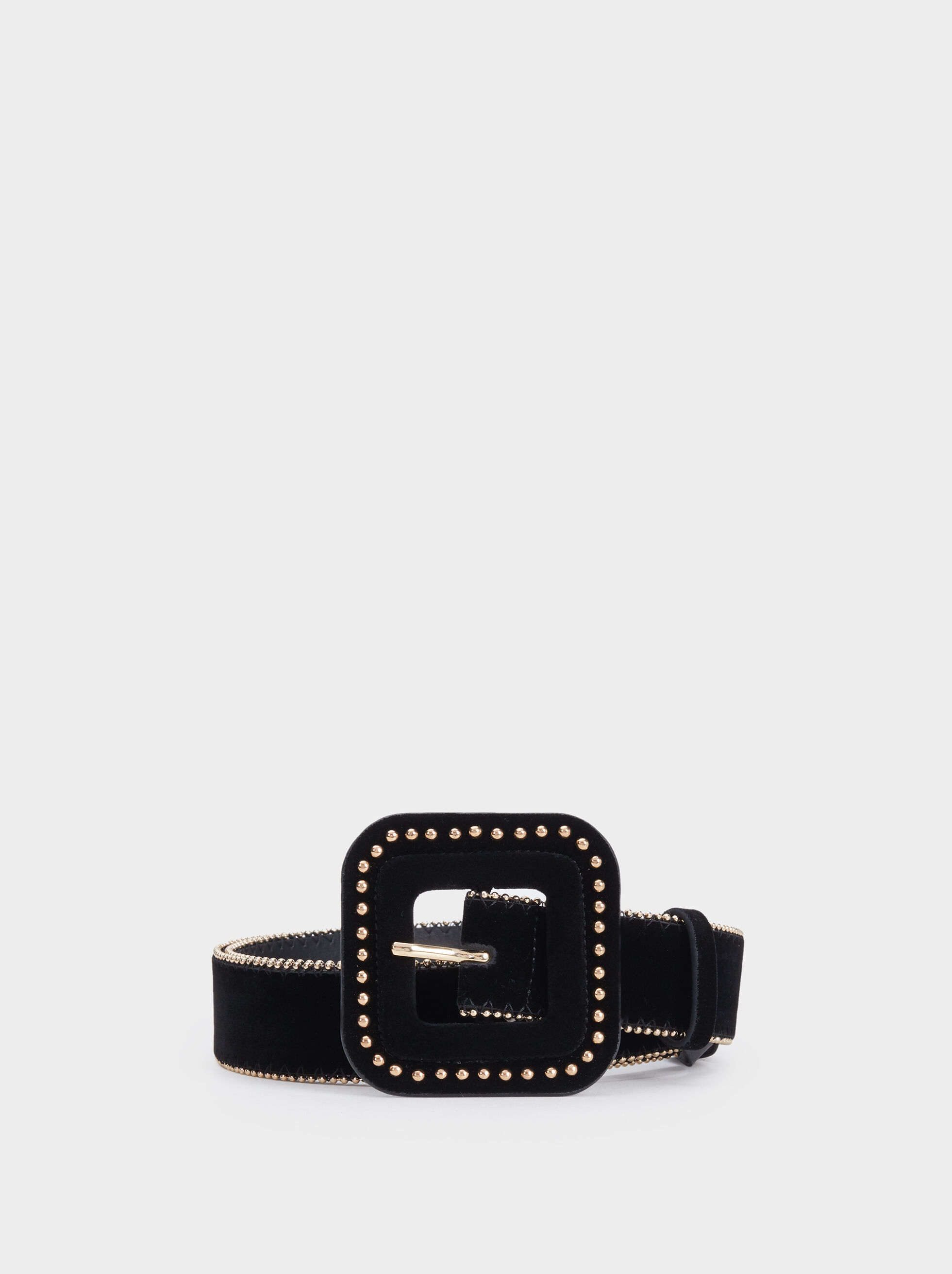Belt With Studded Buckle, Black, hi-res