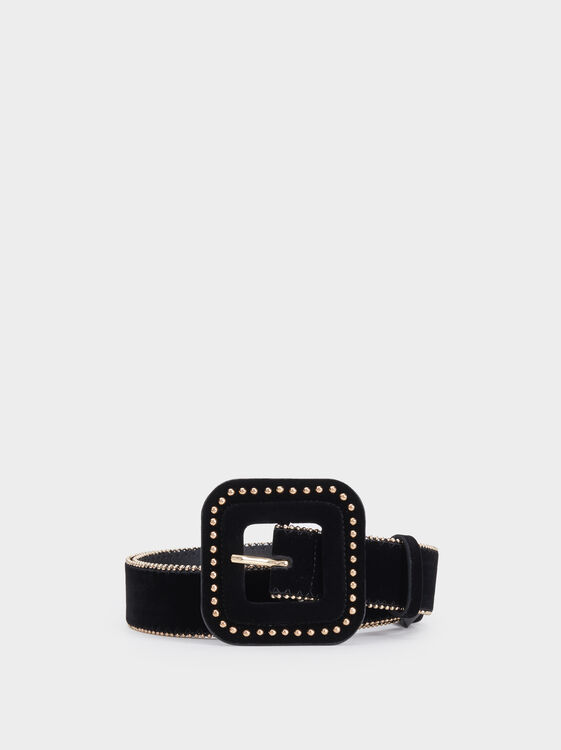 Belt With Studded Buckle, Black, hi-res