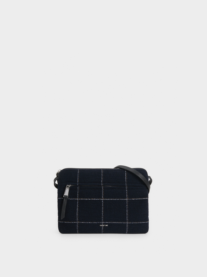 Check Crossbody Bag, Navy, hi-res