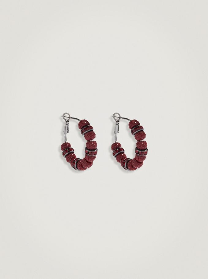 Beaded Hoop Earrings, Bordeaux, hi-res