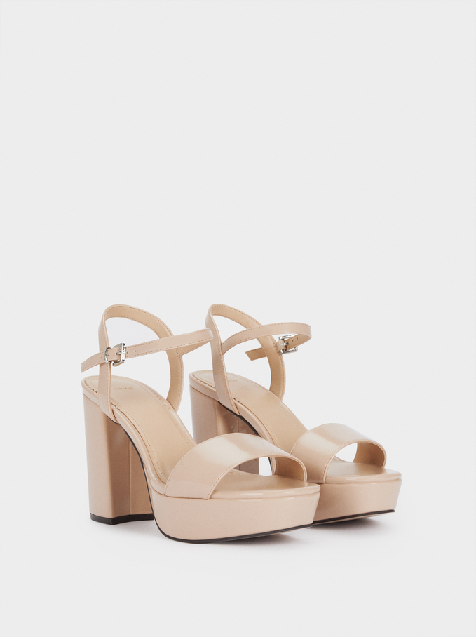 High-Heel Platform Sandals, Pink, hi-res