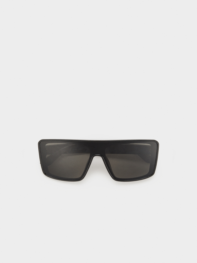 Square-Cut Sunglasses, Black, hi-res