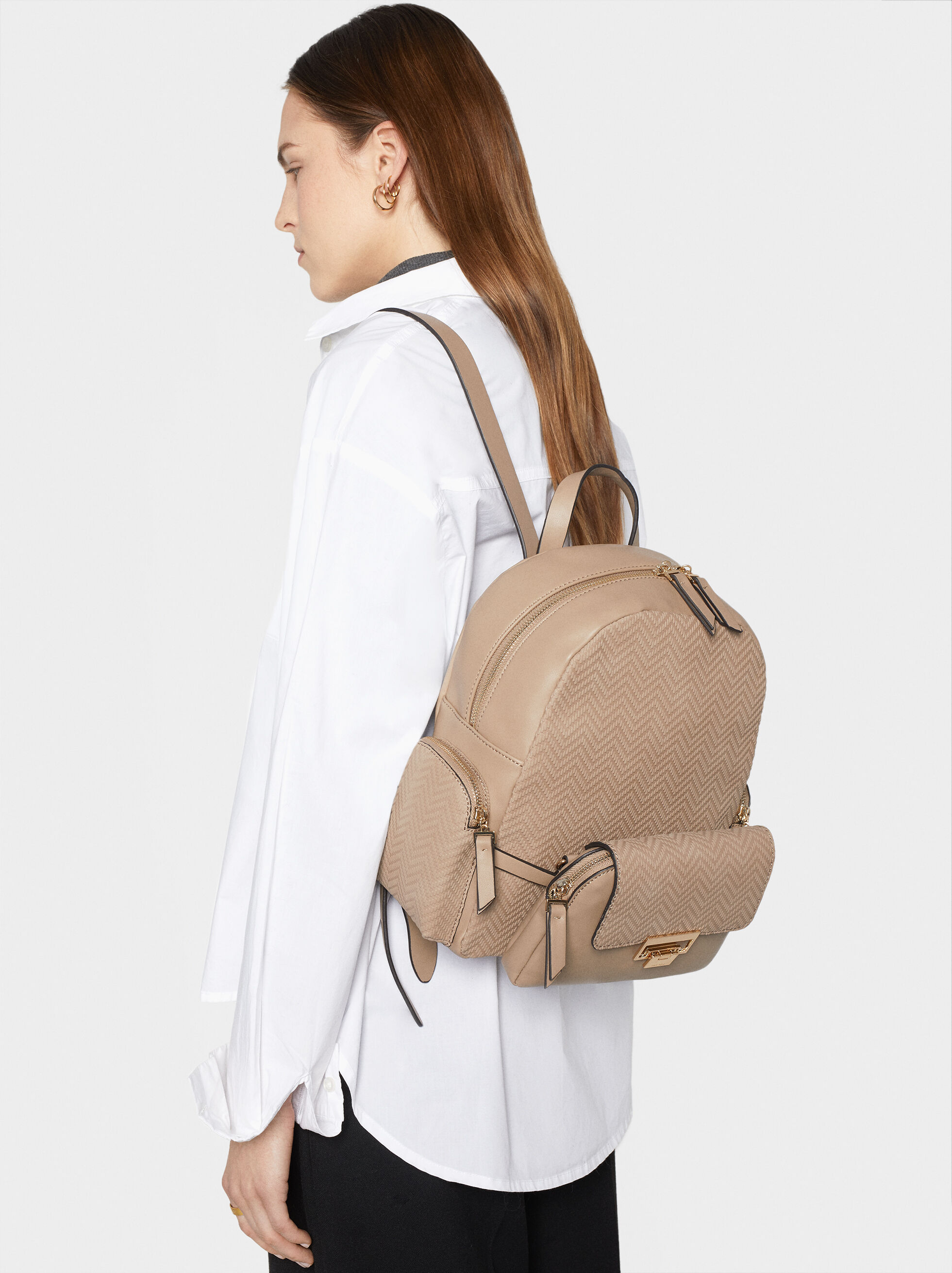 Backpack With Outer Pockets, Brown, hi-res